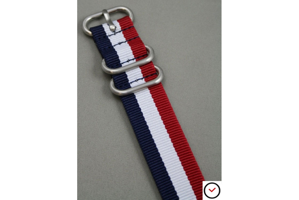 Blue White Red (French flag) ZULU nylon strap (highly resistant fabric)
