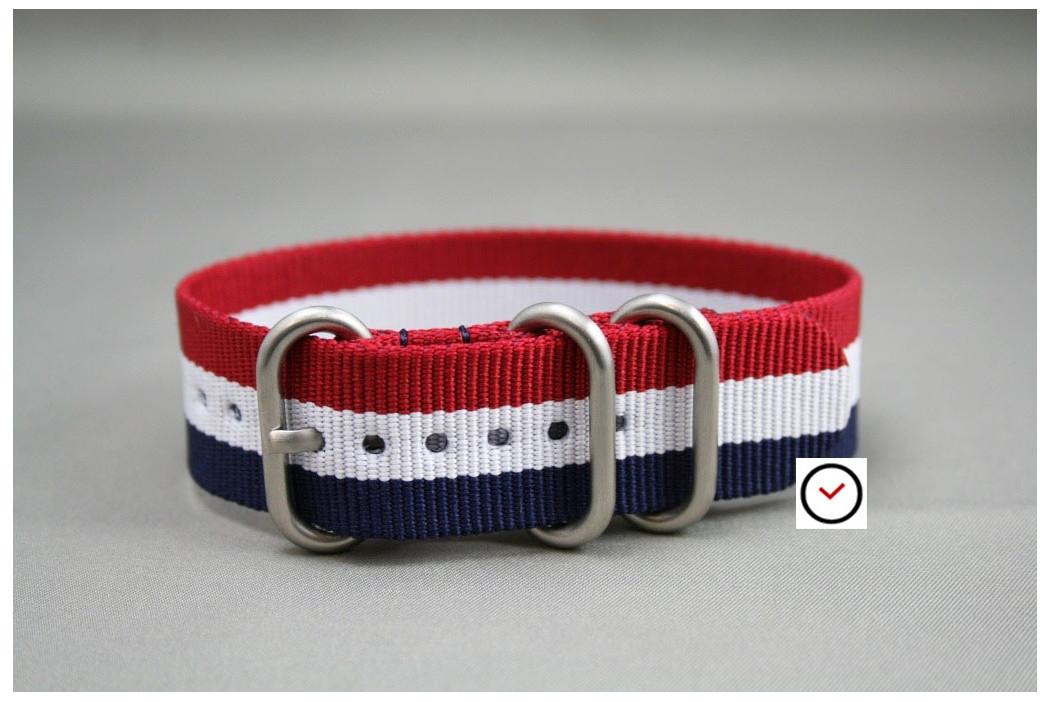 Bracelet nylon ZULU Tricolore Bleu Blanc Rouge