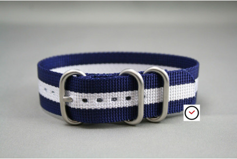 Navy Blue White ZULU nylon strap (highly resistant fabric)