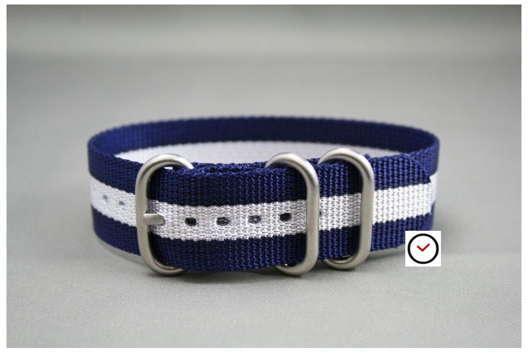 Bracelet nylon ZULU Bleu Navy Blanc