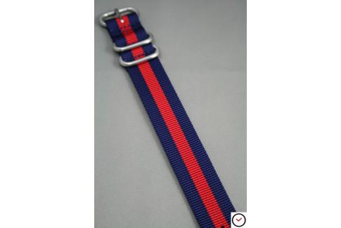 Bracelet nylon ZULU Bleu Navy Rouge