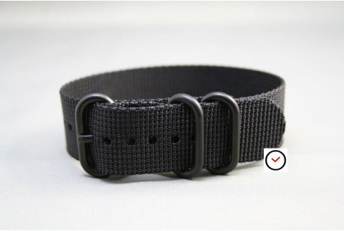 Black ZULU nylon strap, PVD buckle and loops (black)