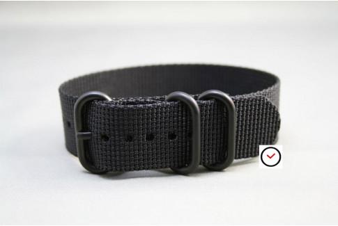 Bracelet nylon ZULU Noir, boucle PVD (noire)