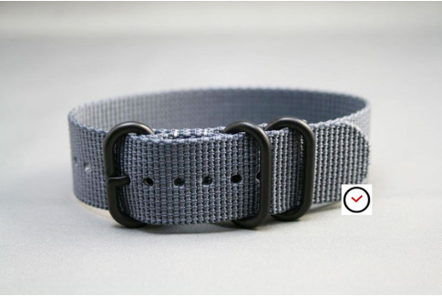 Grey ZULU nylon strap, PVD buckle and loops (black)