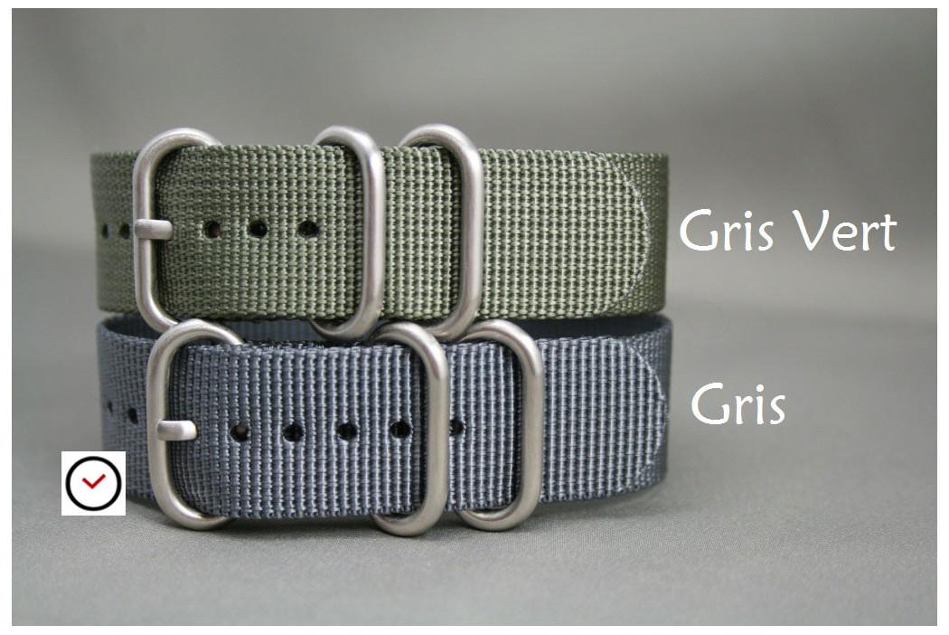 Bracelet nylon ZULU Gris, boucle PVD (noire)