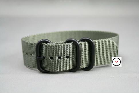 Bracelet nylon ZULU Gris Vert, boucle PVD (noire)