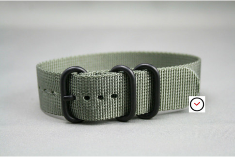 Green Grey ZULU nylon strap, PVD buckle and loops (black)