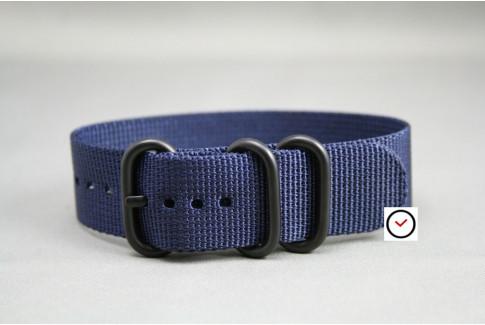 Bracelet nylon ZULU Bleu Nuit, boucle PVD (noire)