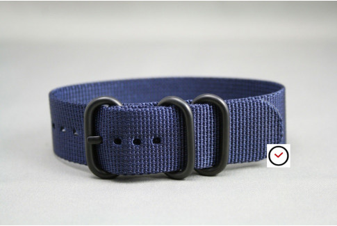 Night Blue ZULU nylon strap, PVD buckle and loops (black)