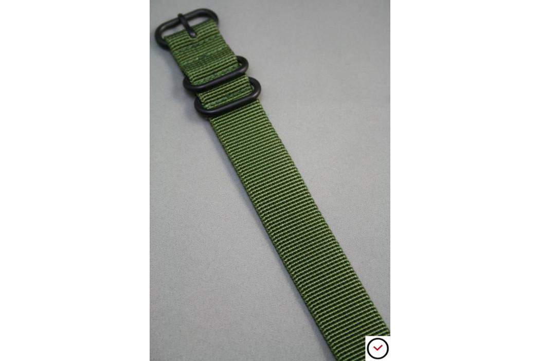 Bracelet nylon ZULU Vert Kaki (Militaire), boucle PVD (noire)