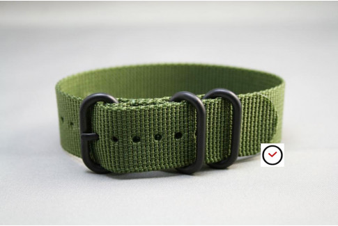 Military Green ZULU nylon strap, PVD buckle and loops (black)