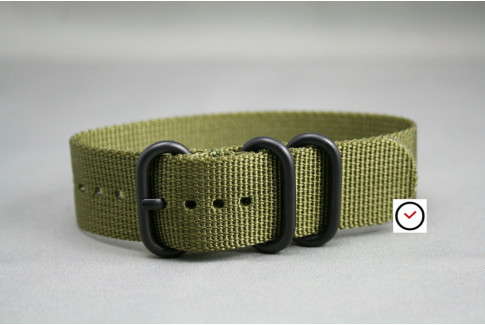 Olive Green ZULU nylon strap, PVD buckle and loops (black)