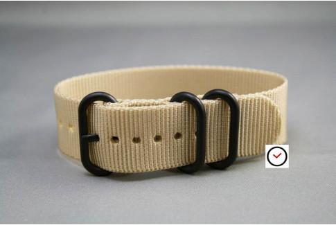 Bracelet nylon ZULU Beige Sable, boucle PVD (noire)