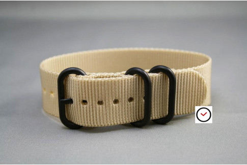 Sandy Beige ZULU nylon strap, PVD buckle and loops (black)