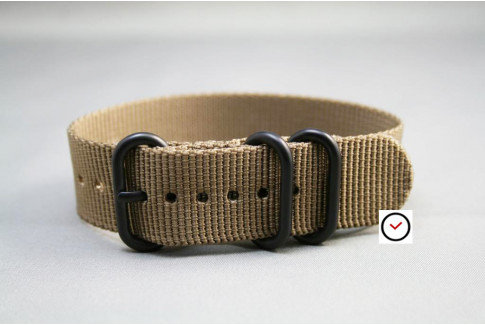 Bracelet nylon ZULU Marron Bronze, boucle PVD (noire)