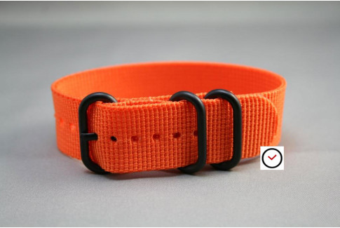 Bracelet nylon ZULU Orange, boucle PVD (noire)