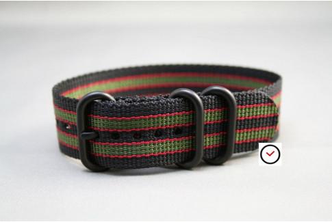 Bracelet nylon ZULU Bond Original (Noir Vert-Kaki Rouge), boucle PVD (noire)