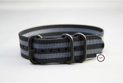 Bracelet nylon ZULU Bond Craig (Noir Gris), boucle PVD (noire)
