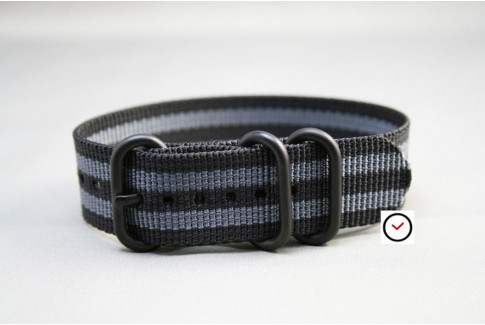 Craig Bond ZULU nylon strap - Black Grey, PVD buckle and loops (black)