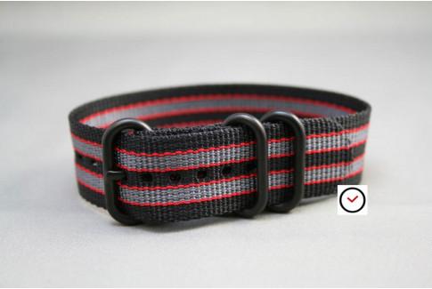 Bracelet nylon ZULU Bond Noir Gris Rouge, boucle PVD (noire)