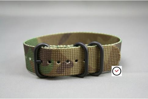 Bracelet nylon ZULU Camouflage , boucle PVD (noire)