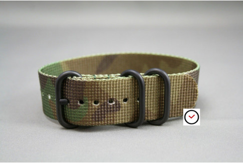 Camouflage ZULU nylon strap, PVD buckle and loops (black)