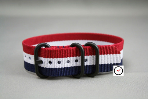 Blue White Red (French flag) ZULU nylon strap, PVD buckle and loops (black)