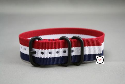 Bracelet nylon ZULU Tricolore Bleu Blanc Rouge, boucle PVD (noire)