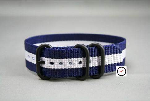 Bracelet nylon ZULU Bleu Navy Blanc, boucle PVD (noire)
