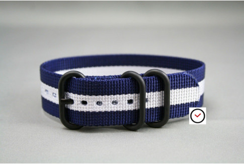 Navy Blue White ZULU nylon strap, PVD buckle and loops (black)