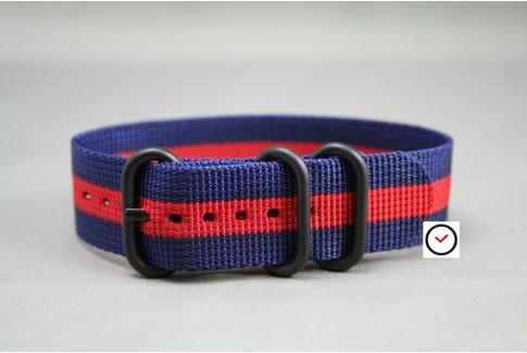 Bracelet nylon ZULU Bleu Navy Rouge, boucle PVD (noire)