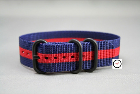 Navy Blue Red ZULU nylon strap, PVD buckle and loops (black)