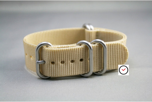 Sandy Beige NATO ZULU nylon strap (highly resistant fabric)