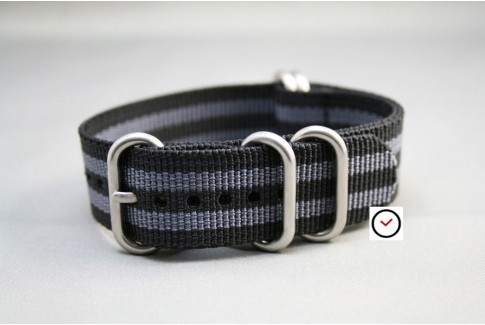 Craig Bond NATO ZULU nylon strap - Black Grey (highly resistant fabric)