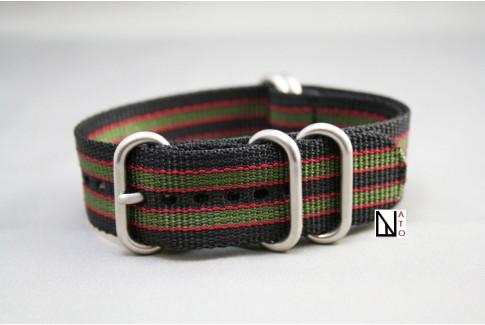 Bracelet nylon NATO ZULU Bond Original (Noir Vert-Kaki Rouge)