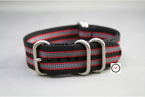 Black Grey Red James Bond NATO ZULU strap (highly resistant fabric)