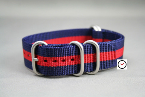 Navy Blue Red NATO ZULU nylon strap (highly resistant fabric)