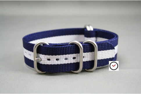 Bracelet nylon NATO ZULU Bleu Navy Blanc