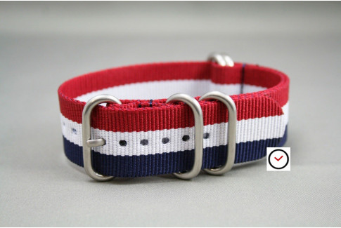 Blue White Red (French flag) NATO ZULU nylon strap (highly resistant fabric)