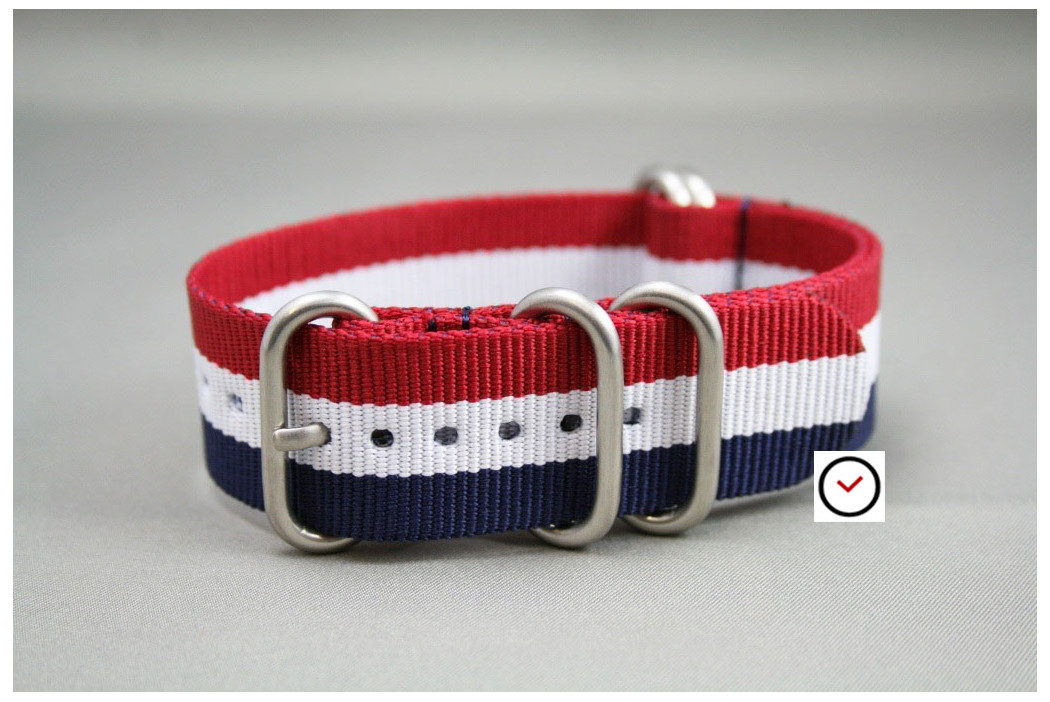 Bracelet nylon NATO ZULU Tricolore Bleu Blanc Rouge