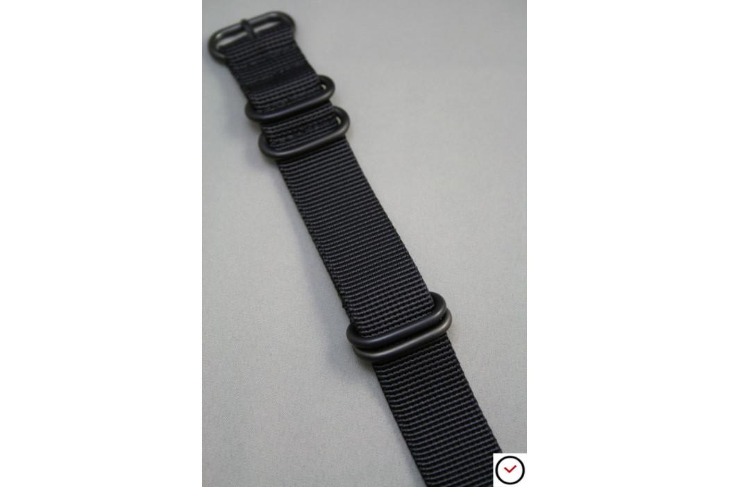 Bracelet nylon NATO ZULU Noir, boucle PVD (noire)