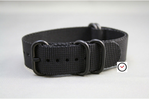 Black NATO ZULU nylon strap, PVD buckle and loops (black)