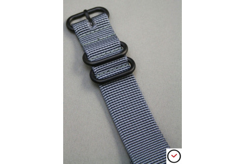 Bracelet nylon NATO ZULU Gris, boucle PVD (noire)