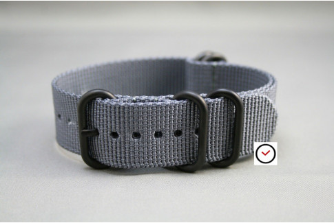 Grey NATO ZULU nylon strap, PVD buckle and loops (black)