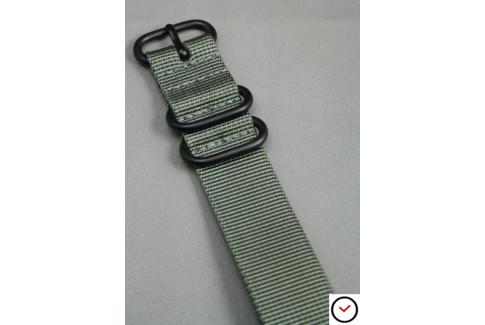 Bracelet nylon NATO ZULU Gris Vert, boucle PVD (noire)