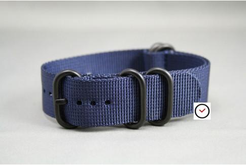 Bracelet nylon NATO ZULU Bleu Nuit, boucle PVD (noire)