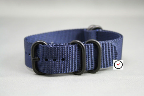 Night Blue NATO ZULU nylon strap, PVD buckle and loops (black)