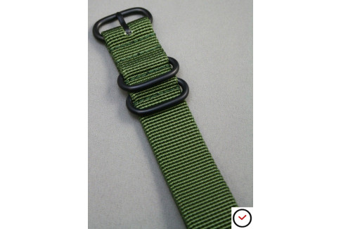 Military Green NATO ZULU nylon strap, PVD buckle and loops (black)