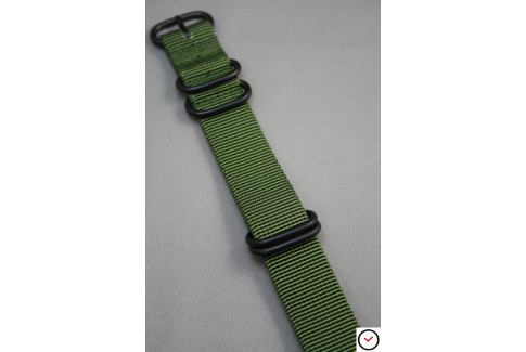 Bracelet nylon NATO ZULU Vert Kaki (Militaire), boucle PVD (noire)