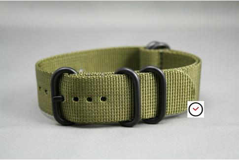 Bracelet nylon NATO ZULU Vert Olive, boucle PVD (noire)